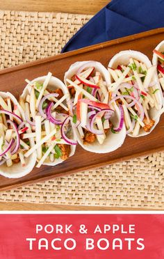 Craving comfort food, but don't have a lot of time? Try these Pork and Apple Taco Boats! Tasty pork tenderloin is paired with sweet and crunchy apples and red onions, for the perfect pairing of fall comfort food flavors! Ready to eat in just 10 minutes!
