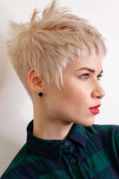 Cool Blonde Layered Pixie ❤ Short hairstyles for thick hair don't have to be boring. A cute hairstyle like the ones pictured here can help add texture and life to your thick tresses. #shorthairstylesforthickhair #lovehairstyles #hair #hairstyles #haircuts