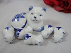 Cat Miniatures Blue and White Delft style Cat by SecondWindShop, $20.00
