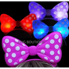 d40ad9c09ef2 LA Wholesale Store 12 PCS LIGHT UP LED POLKA BOWS HEADBANDS MINNIE MOUSE  EARS MICKEY FAVORS BAG PARTY+ FREE Temporary Body Tattoo