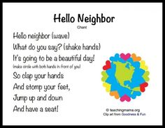 This is a great community building activity for preschool and kindergarten. It shows students the have friends and gets student to talk to everyone. I would use it in my morning circle time. Kindergarten Songs, Preschool Music, Preschool Classroom, Hello Songs Preschool, Preschool Circle Time Songs, Preschool Good Morning Songs, Preschool Movement Songs, Montessori Elementary, Kindergarten Circle Time