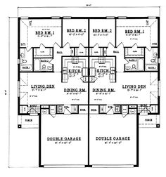 European, One-Story Multi-Family Plan 79050 with 4 Beds, 4 Baths, 4 Car Garage Level One--1012 SF/side