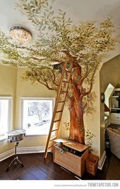 This Tree Mural looks so real....love!