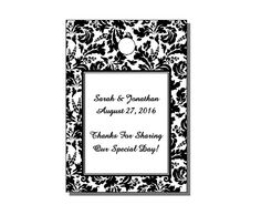 """These hang tags are cut-to-size with a pre-punched hole where you can tie your string or ribbon. They measure 1.75"""" x 2.5"""" in size and feature a black and white floral damask theme. They are a popular option for couples planning their wedding reception or bridal shower. Why not dress up your party favors (i.e., favor bags, favor boxes, bottles, etc.) with personalized hang tags to celebrate your special occasion."""