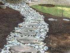 I like the stones on the French drain. Makes it into a pathway, as well. Neat idea!
