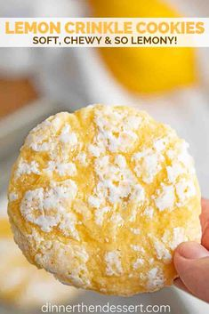 Lemon Cookies flavored with fresh lemon juice and lemon zest are soft, sweet, and PERFECT for making ahead of time and pulling out when you need them! #cookies #lemon #lemoncookies #crinklecookies #christmas #fromscratch #dinnerthendessert #dessert