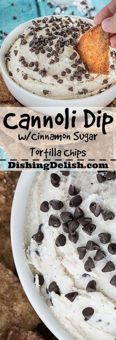 The Best Cannoli Dip Ever is seriously the easiest dessert you'll make all year. Creamy ricotta and marscapone cheese, combined with sweet powdered sugar, almond, vanilla, and chocolate chips. As a bo (Bake Goods Tortilla Chips) Dessert Dips, Party Desserts, Dessert Recipes, Dip Recipes, Tortilla Dessert, Dessert Catering, Potluck Desserts, Fruit Party, Recipes