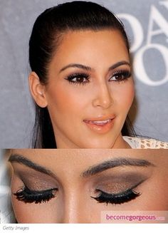 Peach blush and lips, bronze powder, and smokey eyes with thick lashes. Love this look!