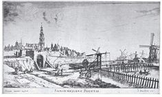 Plate 8. View of the Same Side of Town as in Plate 7, but Looking Outward. The tower on the left is the same as sketched by Rembrandt (plate 13). After an etching by R. Zeeman, about 1650.