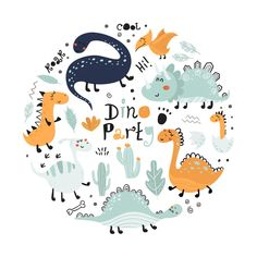 Poster With Cute Dinosaurs And Lettering. Dinosaur Illustration, Retro Illustration, Pattern Illustration, Watercolor Illustration, Cool Dinosaurs, Cute Dinosaur, Dinosaur Background, Die Dinos Baby, Cute Hippo