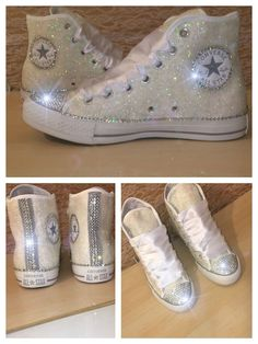 Wedding ideas Women's WHITE sparkly Glitter swarovski by CrystalCleatss Converse All Star, Converse Tennis Shoes, Glitter Converse, Glitter Shoes, Glitter Uggs, Zapatos Bling Bling, Bling Shoes, Prom Shoes, Wedding Shoes