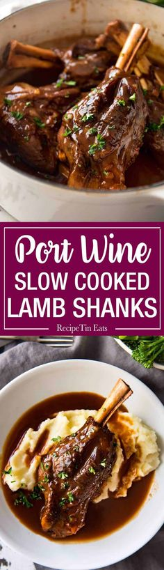 Port Braised Lamb Shanks Port Braised Lamb Shanks – easy to make slow cooked lamb shanks in an incredible port wine sauce! Lamb Recipes, Slow Cooker Recipes, Meat Recipes, Crockpot Recipes, Dinner Recipes, Cooking Recipes, Healthy Recipes, Potato Recipes, Casserole Recipes