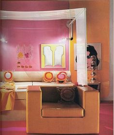 Pink Orange Mod bedroom - Image from the 1972 book 'Living for Today'