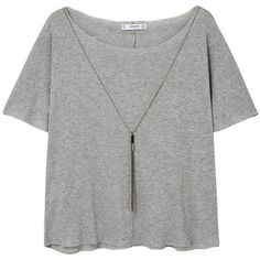 MANGO Decorative Chain T-Shirt ($25) ❤ liked on Polyvore featuring tops, t-shirts, blusas, green t shirt, off the shoulder t shirt, short sleeve tops, short sleeve tee and green off the shoulder top