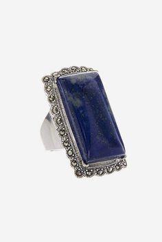 Greg Anthony Lapis & Marcasite Rectangle Ring