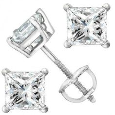 1 Carat 18K White Gold Solitaire Diamond Stud Earrings Princess Cut 4 Prong Screw Back (I-J Color, I1 Clarity) Houston Diamond District http://www.amazon.com/dp/B00FQ77XNE/ref=cm_sw_r_pi_dp_LjuRvb01J3ZE4