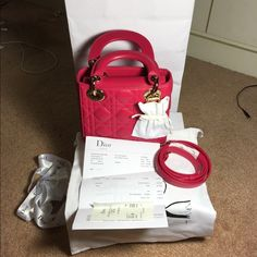 """""""Dior"""" Lady Dior Mini in Furchisa SHW Brand new!!!!!!!!!!!! Come with shopping bag, box, dust bag, Dior authentic card and receipt. Email me 4 more info @ vinh0210@gmail.com. I can do better price on ️ Dior Bags Crossbody Bags"""