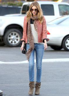 Rosie Huntington Whiteley in MiH.. Denim Chic : Peach Jacket + Beige Booties + Leopard Scarf