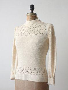 vintage diamond knit sweater by Thrush on Etsy, $32.00