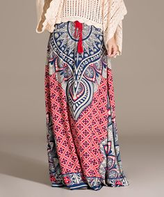 Look what I found on #zulily! Red & Blue Arabesque Maxi Skirt by Flying Tomato #zulilyfinds