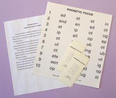 FOCUS CHARTS - Phonetic Focus | Optometric Extension Program Foundation