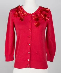 Love this Poinsettia Floral Cardigan on #zulily! #zulilyfinds