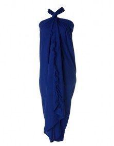 Sarong premium effen-blauw