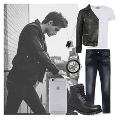 Bad Boy Outfit by kristal5421 on Polyvore featuring polyvore Oliver Spencer Topman Nudie Jeans Co. Tommy Hilfiger Native Union Emporio Armani Timberland men's fashion menswear clothing
