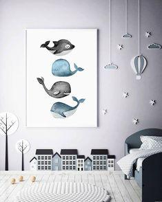 Whale Print Ocean Art Print Watercolor Whale Artwork Gray Whale - Grace Home Whale Painting, Watercolor Whale, Watercolor Painting, Whale Nursery, Ocean Nursery, Baby Room Design, Baby Room Decor, Nautical Nursery Decor, Nursery Ideas