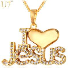 "U7 Necklace CZ Jesus Heart Pendant & Chain ""I Love Jesus"" Gift For Women/Men Silver/Gold Color Christian Jewelry Necklaces P610"