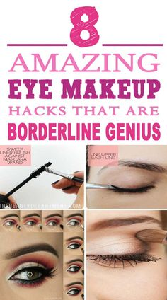 These eye makeup hacks are just the BEST!! Will try these makeup tips for sure. Pinning for later!!