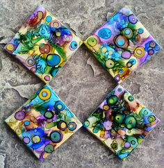 Alcohol Ink Coasters Set of 4 by PizazzDesigns on Etsy