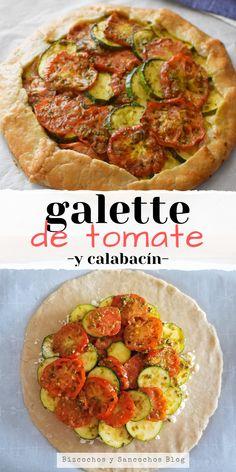 Receta para preparar tarta salada (galette) de tomates y calabacín, con pesto y queso feta, muy fácil de preparar, sabores frescos y muy nutritiva #galette #tartassaladas #pastelesdeverduras #bizcochosysancochos
