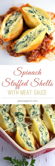 Spinach and cheese stuffed shells with Italian sausage meat sauce | jessicagavin.com