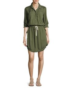 Frayed-Edge+Cargo+Shirtdress,+Green+by+Splendid+at+Neiman+Marcus.