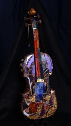 Laura's Violin Mosaic 3/4 view by laura_paull, via Flickr