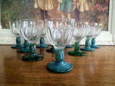 Iridescent Mid Century Green Stem Wine or  Juice Glass 1950s Vintage Set of 10