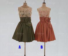lace bridesmaid dress, short bridesmaid dress, custom bridesmaid dress, cheap bridesmaid dress, taffeta bridesmaid dress,140020 on Etsy, $126.00