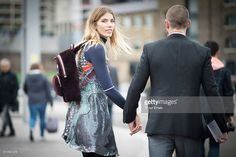 Veronika Heilbrunner and Justin Oshea are seen in the streets of London during London Fashion Week Autumn/Winter 2016/17 at on February 21, 2016 in London, England.
