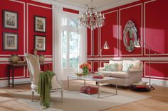 Color on wall: Daring Red 06B-7 Color on Trim: Belgian Waffle N-W20 Color on Ceiling: Chalk CW-C2 Accent Colors: Captured Heart 06B-5, Acanthus Leaf 27B-6