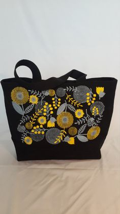 Canvas bag with Embroidery Tote Bag Woman by NewGreenStreetShop