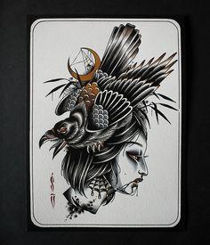 Traditional Tattoo Old School, Traditional Tattoos, Old Shool, Dibujos Tattoo, Old School Tattoo Designs, Cute Tattoos, Blackwork, Printmaking, Oriental