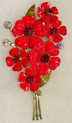 Vintage Coro Red Rhinestone & Enamel Flower Bunch Brooch