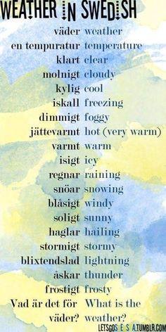 Swedish words for weather Learn Swedish, Swedish Girls, Swedish Style, Umea, Sweden Language, Norway Language, Swedish Quotes, Swedish Traditions, About Sweden