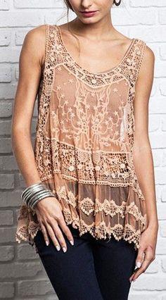Blush lace tank
