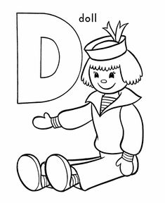 abc pre k coloring activity sheet d is for doll - Pre K Coloring Sheets