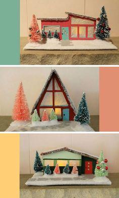 DIY Mid-Century Holiday Putz Houses