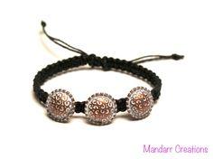 Metalen knop armband zwart Macrame hennep door MandarrCreations