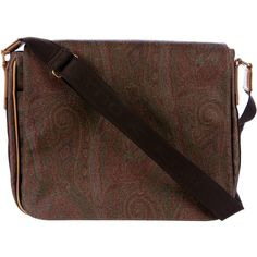 Pre-owned Etro Paisley Messenger Bag ($325) ❤ liked on Polyvore featuring men's fashion, men's bags, men's messenger bags, brown, mens brown leather messenger bag, mens messenger bag and mens courier bag