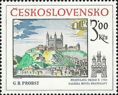Bélyeg: G.B.Probst: Bratislava okolo r. 1760 (Csehszlovákia) (Pozsonyi történelmi motívum) Mi:CS 2622,Sn:CS 2364,Yt:CS 2445,AFA:CS 2467,POF:CS 2494